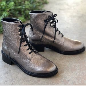 Lewit Lucca silver metallic lace up combat boots
